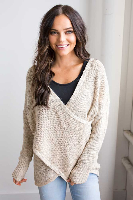 Cross Wrap Two Tone Sweater - Beige