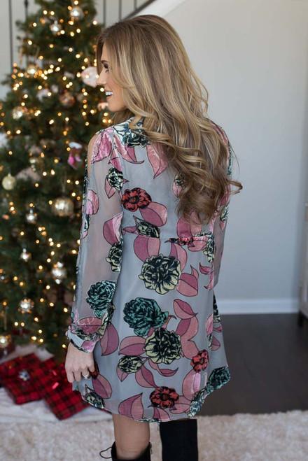 Floral Open Sleeve Velvet Dress - Light Grey