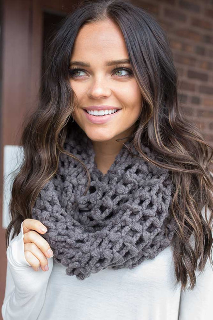 Lattice Knit Infinity Scarf - Charcoal