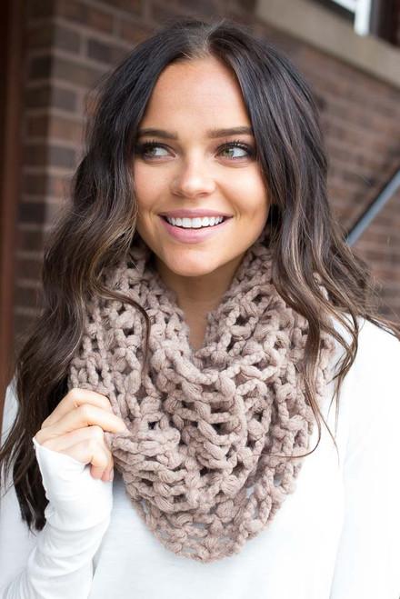 Lattice Knit Infinity Scarf - Mocha