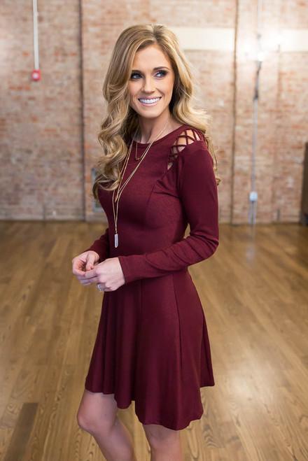 Shoulder Detail Flare Dress - Burgundy