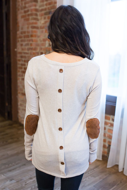 Button Back Elbow Patch Top - Oatmeal