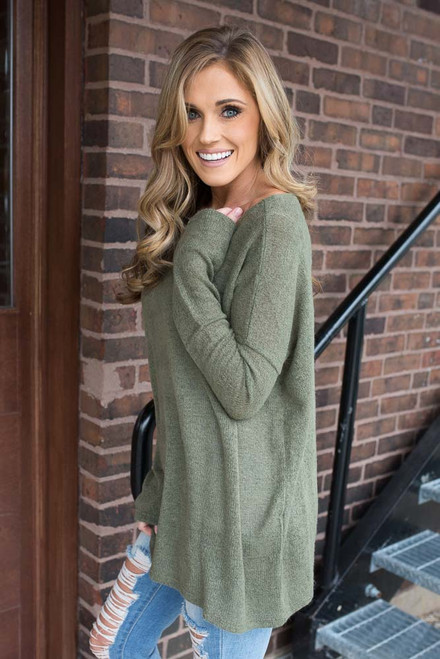 Lightweight Piko Sweater - Olive
