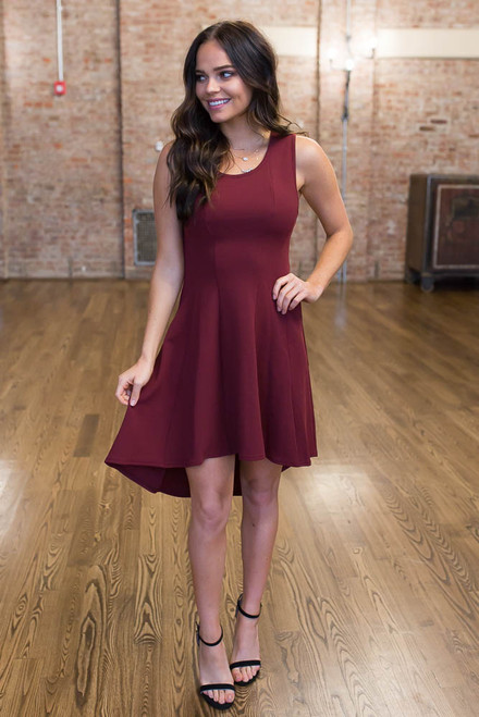 High Low Fit & Flare Dress - Wine