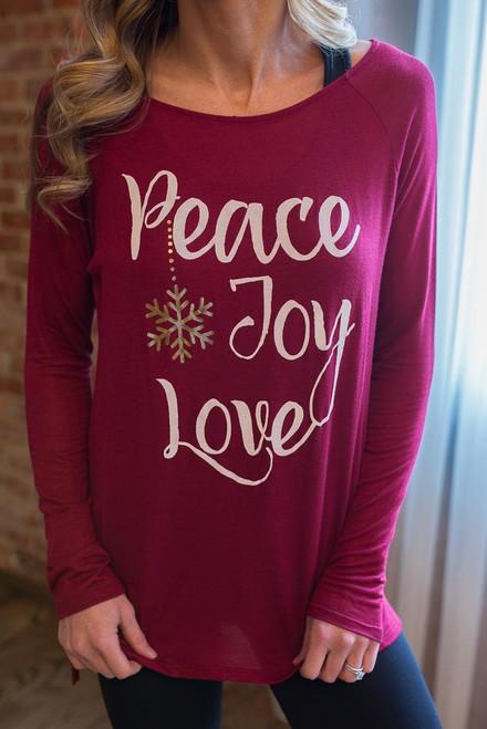 Peace, Joy, Love Long Sleeve Tee - Burgundy - FINAL SALE