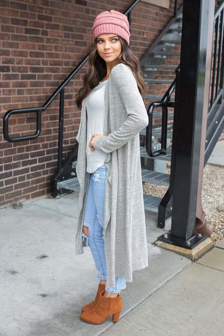 Draped Front Long Cardigan - Heather Grey