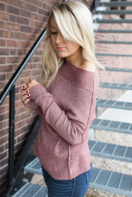 Off the Shoulder Two Tone Sweater - Raspberry