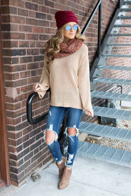 Cutout Shoulder Detail Sweater - Taupe