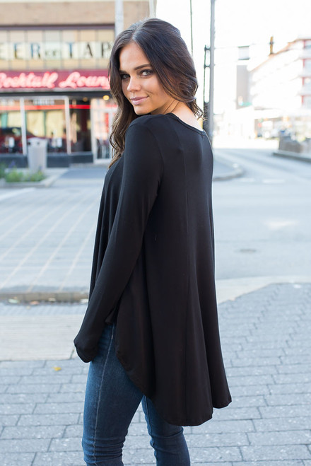 Solid High Low Knit Tunic - Black