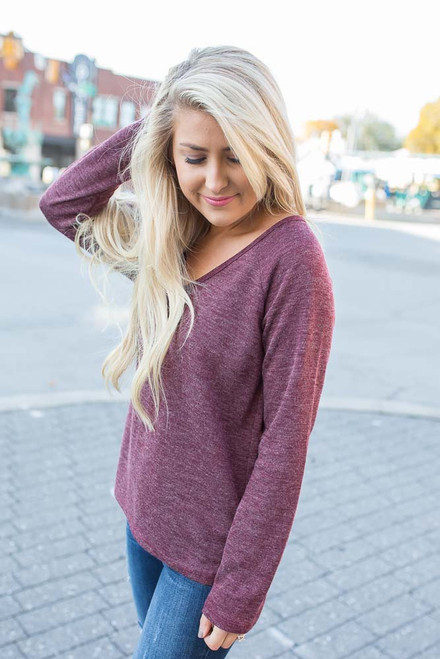 Everly V-Neck Raglan Top  - Heather Wine