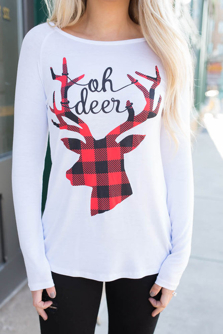 Oh Deer Long Sleeve Tee - White