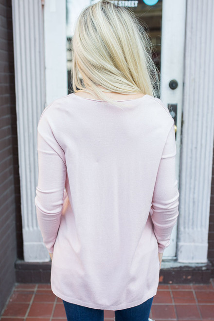 V-Neck Sweater - Light Pink