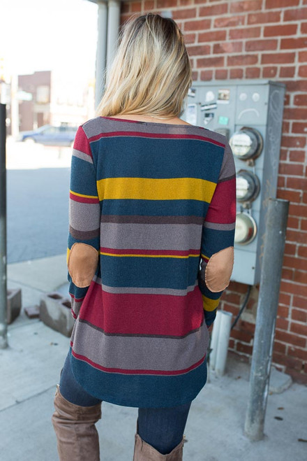 Striped Elbow Patch Top - Teal Multi