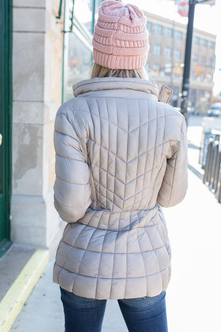 Quilted Puffer Coat - Taupe