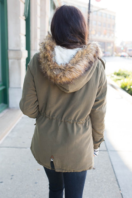 Hooded Sherpa Lined Coat - Olive
