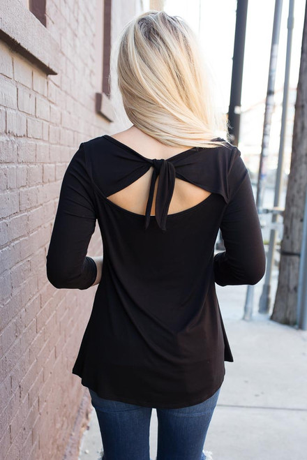 Solid Keyhole Tie Back Top - Black