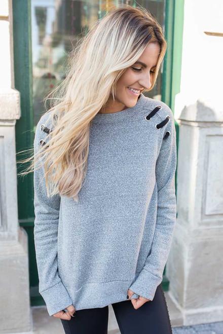 Eyelet Detail Fleece Sweatshirt - Heather Grey
