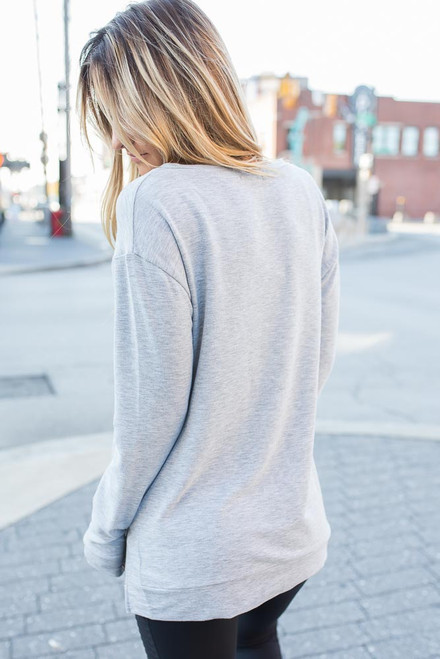 Zipper Detail Pullover - Heather Grey