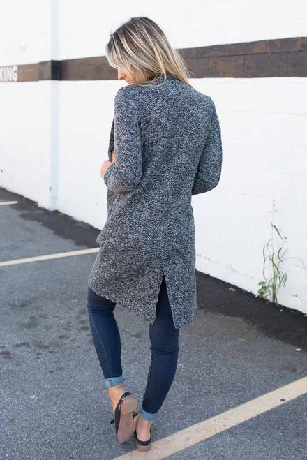 Two Tone Pocket Overcoat - Black