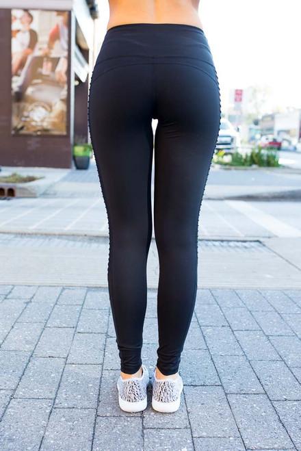 Mesh & Moto High Waist Leggings - Black