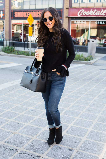 Everly Boucle Ruffle Sleeve Sweater - Black