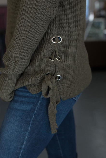 Lace Up Side Pullover Sweater - Olive