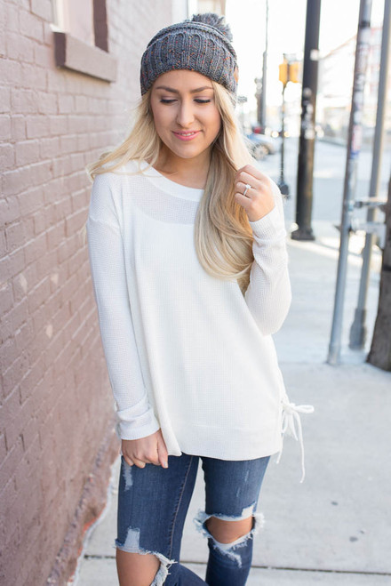 Lace Up Side Waffle Knit Top - White