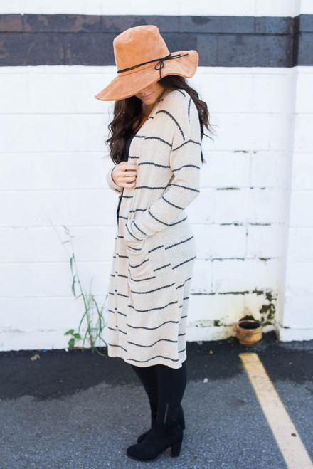 Striped Waffle Knit Pocket Cardigan - Taupe/Charcoal