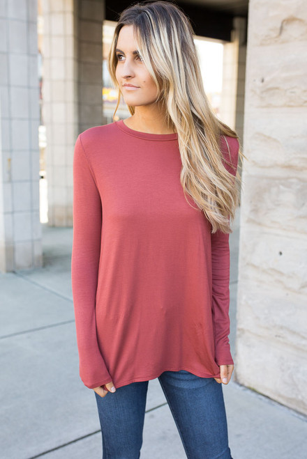 Pleated Back High Low Tunic - Brick