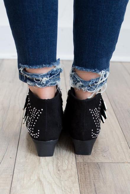 Studded Buckle Booties - Black