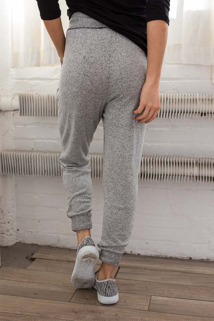 Soft Brushed Contrast Stitch Joggers - Heather Grey