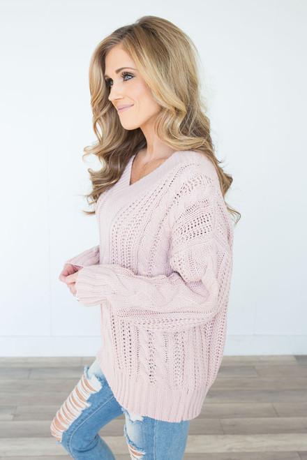V-Neck Cable Knit Sweater - Mauve