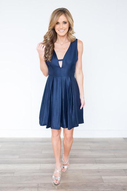 Metallic Fit & Flare Dress - Navy