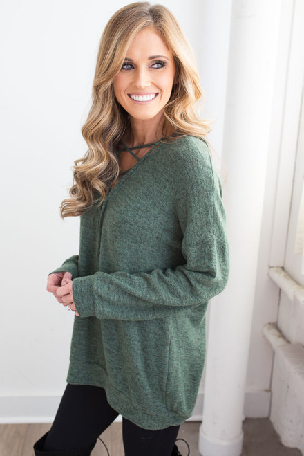 Soft Brushed Lace Up Hoodie - Meadow Green