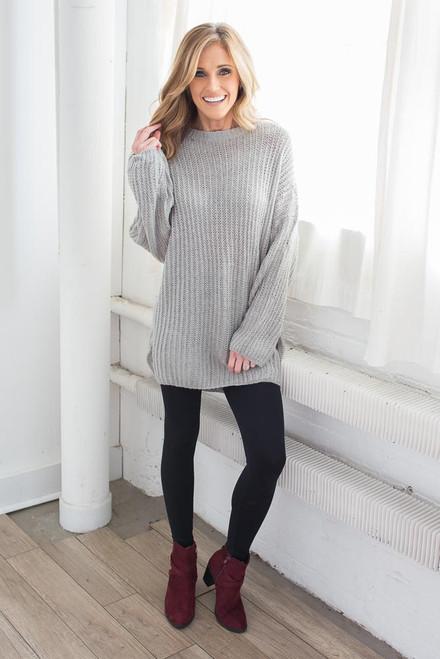Ribbed Knit Tunic Sweater - Grey
