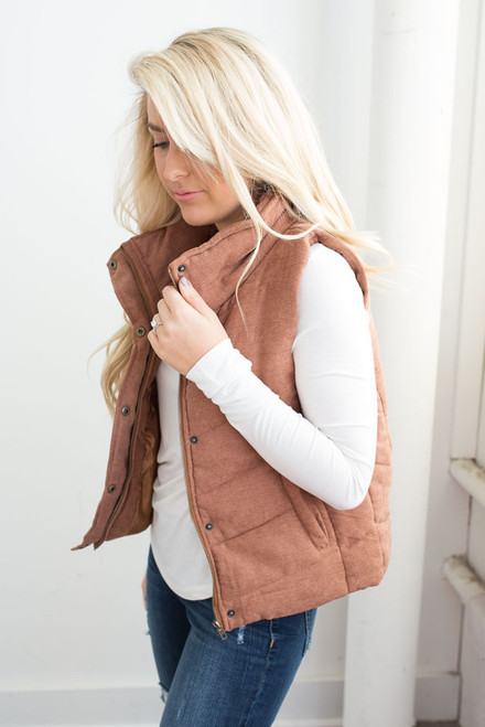 Quilted Zip Up Vest - Amber Gold