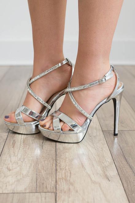 Fashion Week Platform Heels - Silver