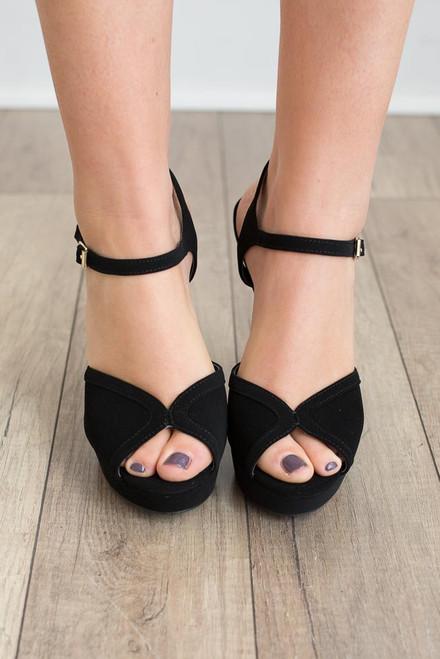 Faux Suede Platform Heels - Black