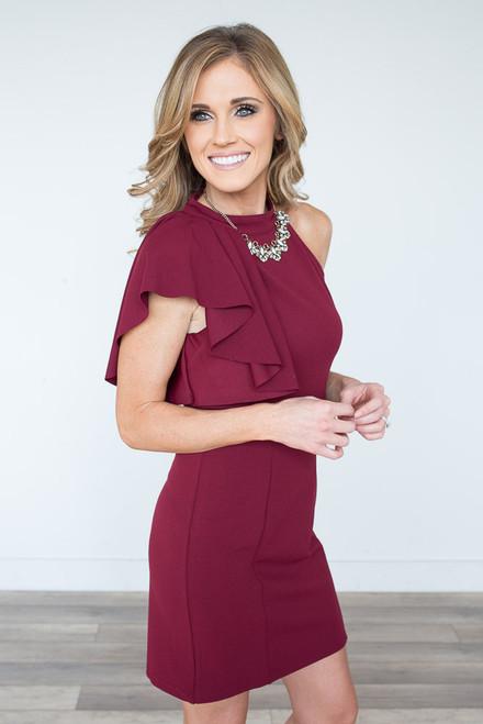One Shoulder Ruffle Detailed Dress - Wine