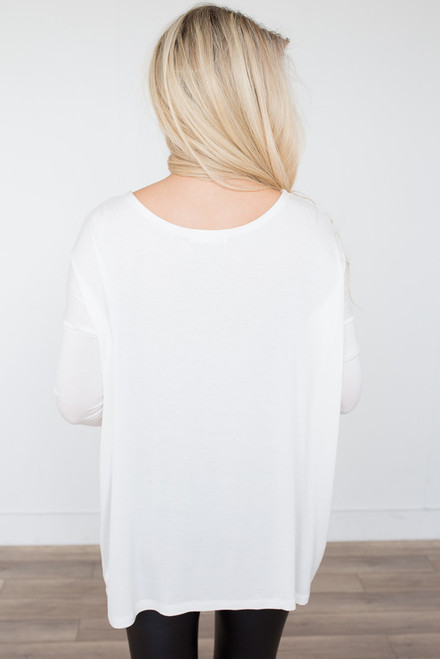 Solid Knit Piko Top - Ivory
