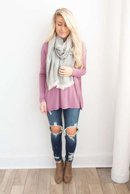 Solid Knit Piko Top - Mauve