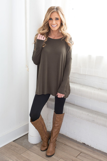 Solid Knit Piko Top - Olive