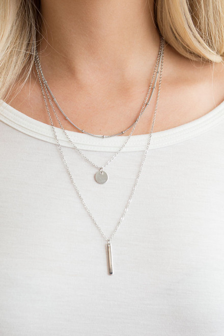 Layered Charm Necklace - Silver