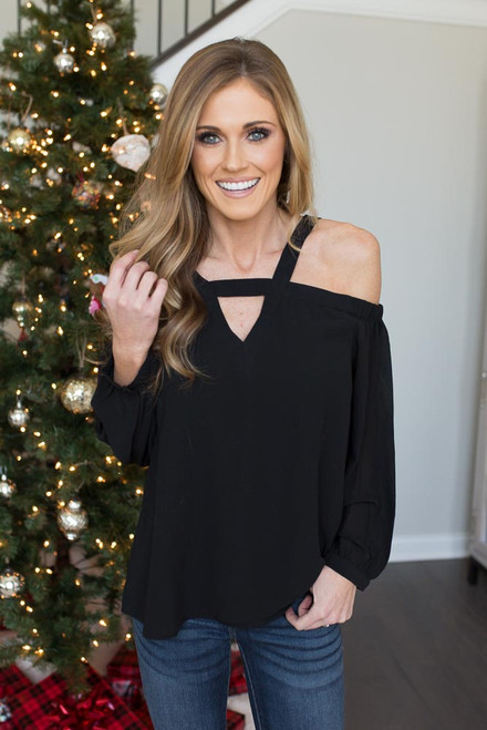 Keyhole Cold Shoulder Blouse - Black