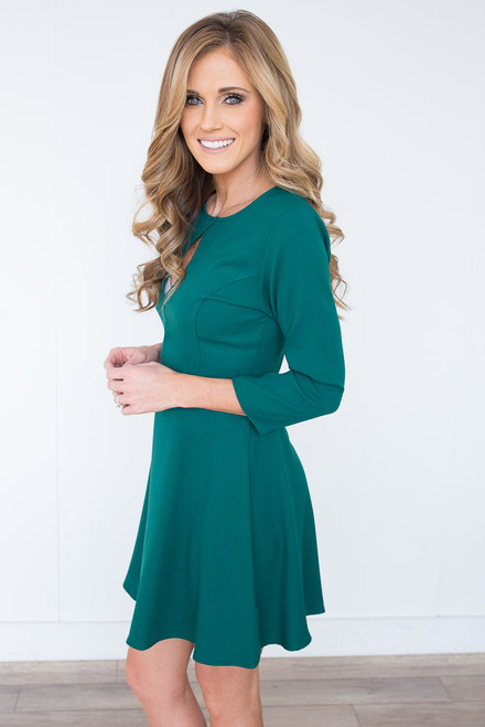Everly Keyhole Fit & Flare Dress - Hunter Green