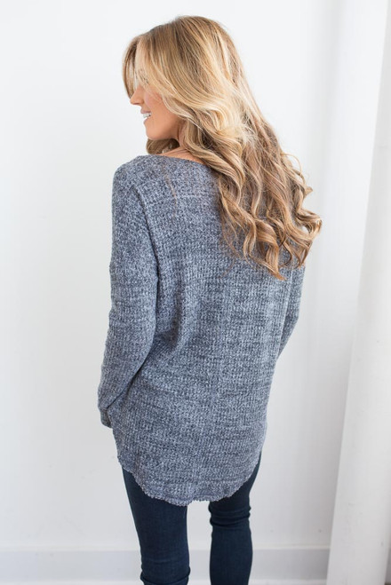 Soft Brushed Criss Cross Top - Heather Charcoal
