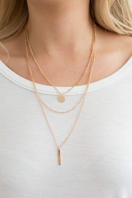 Layered Charm Necklace - Gold