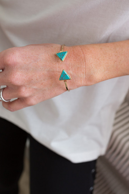 Marble Triangle Bracelet - Turquoise/Gold