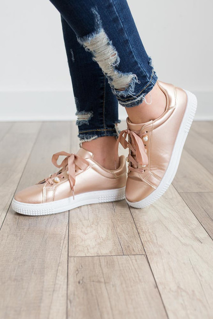 Pearl Accented Sneakers - Rose Gold