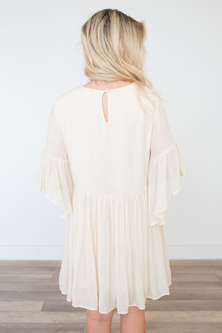 Embroidered Bell Sleeve Dress - Cream
